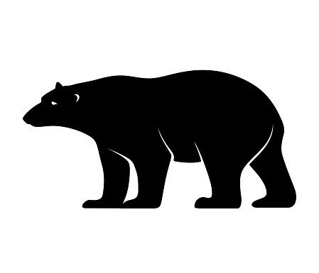 Polar bear. Vector black silhouette.