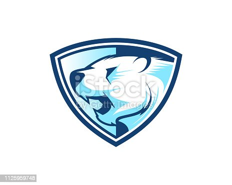 Polar Bear in a Shield  Abstract Illustration
