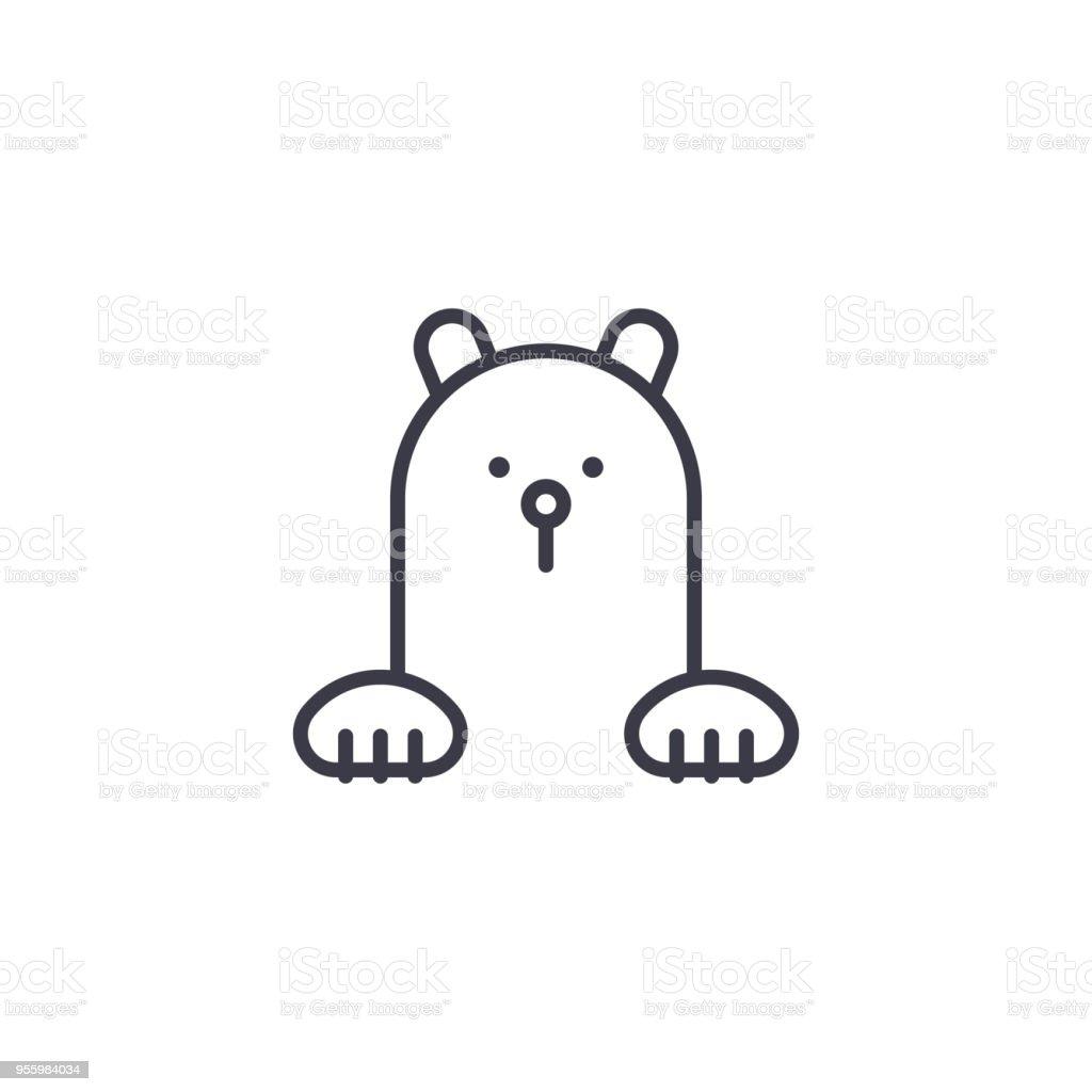 icône de l'ours polaire vecteur ligne, signe, illustration sur fond, traits modifiables icône de lours polaire vecteur ligne signe illustration sur fond traits modifiables vecteurs libres de droits et plus d'images vectorielles de arctique libre de droits