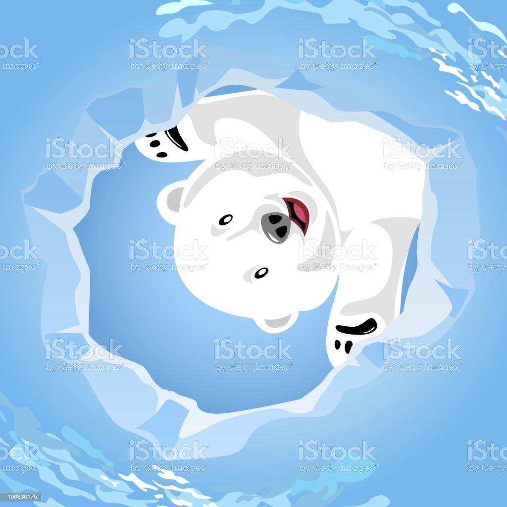 Polar Bear Wait at a Seal's Air Hole vector art illustration