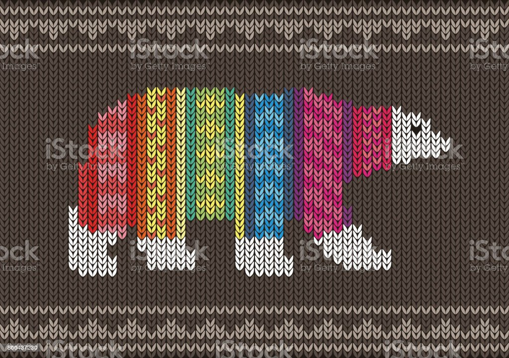 Polar Bear Wearing Sweater On The Knitting Pattern Happy New Year
