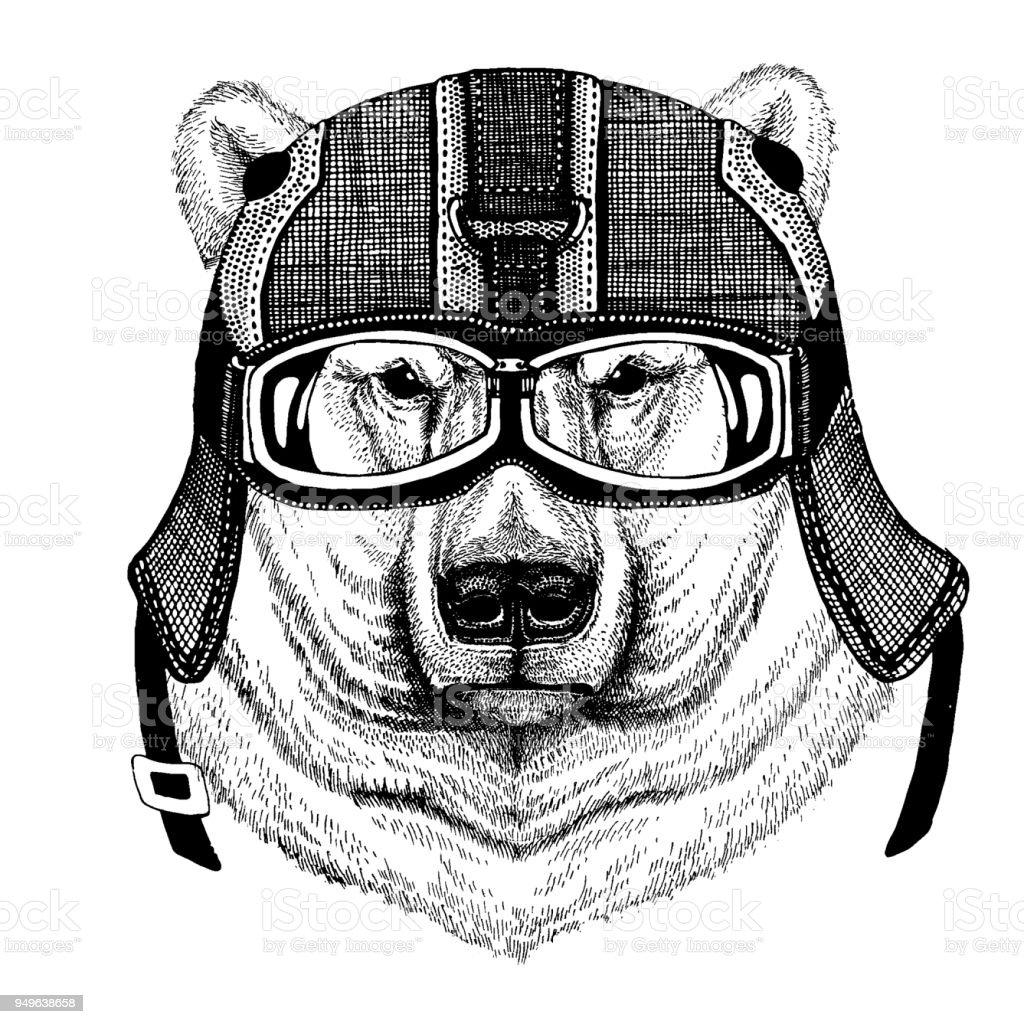 Polar bear, white bear Hipster animal wearing motorycle helmet. Image for kindergarten children clothing, kids. T-shirt, tattoo, emblem, badge, logo, patch vector art illustration