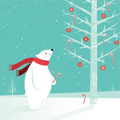 Polar bear with candy cane