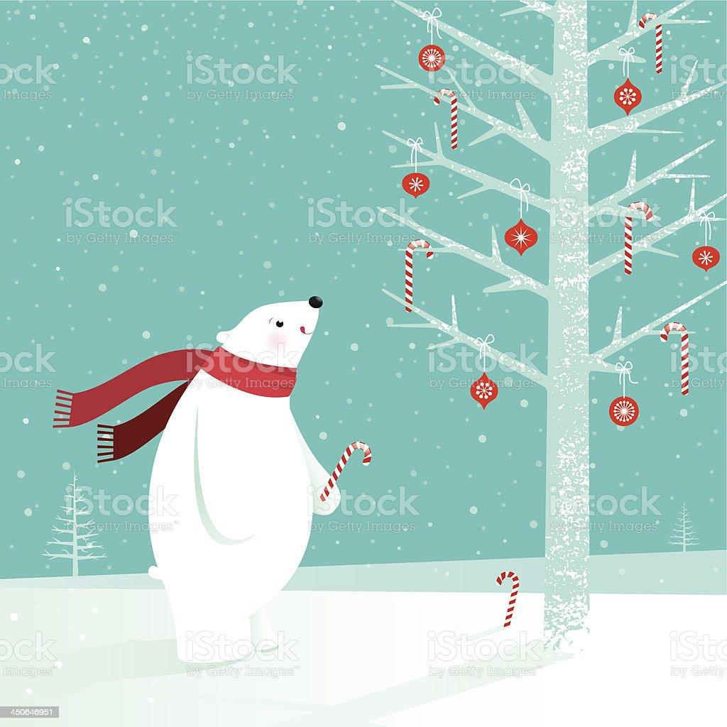 Polar bear with candy cane vector art illustration