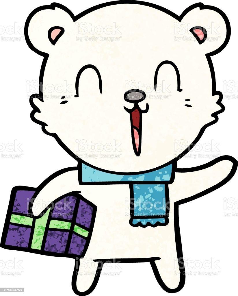 Ours Blanc Avec Dessin Anime Present De Noel Cliparts Vectoriels