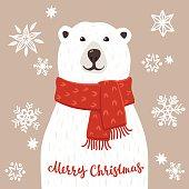 Polar Bear with Merry Christmas inscription