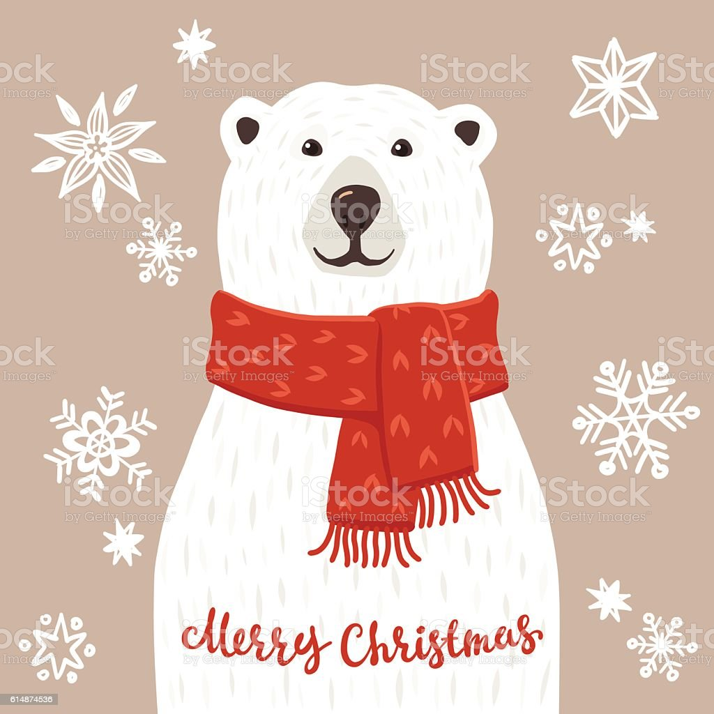 Polar Bear with Merry Christmas inscription vector art illustration