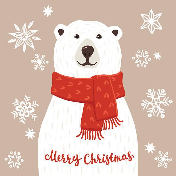 Polar Bear with Merry Christmas inscription vector art illustration