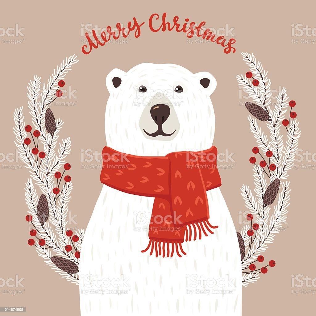 Polar Bear with Merry Christmas inscription – Vektorgrafik