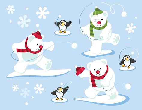 Polar Bears and Penguins throwing snowballs