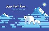 Polar bears flat illustration