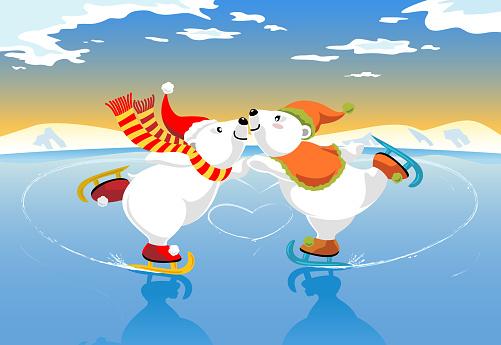Polar Bears Ice Skating Romance