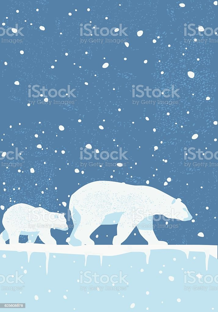 Polar Bears in the Wild vector art illustration