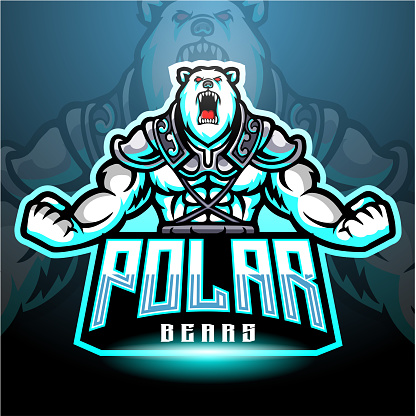 Polar Bears mascot logo for electronic sport gaming logo