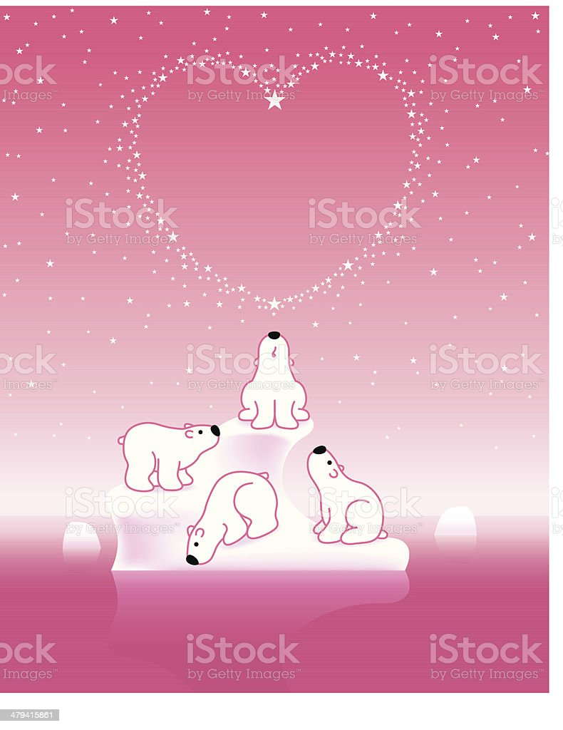Polar Bears on Iceberg with Star Heart_Pink royalty-free polar bears on iceberg with star heartpink stock vector art & more images of animal family
