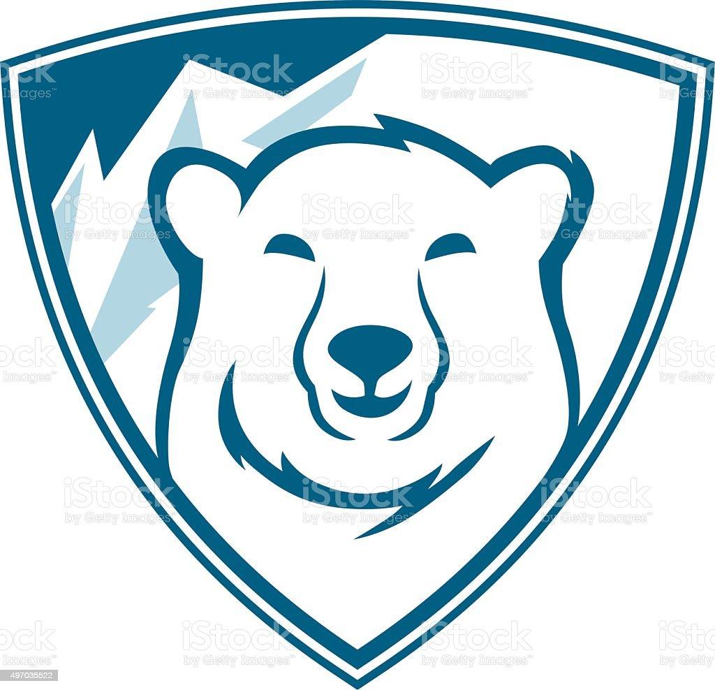 polar bears shield vector art illustration