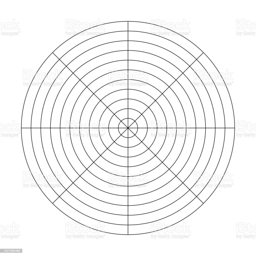 Polare Raster Von 24 Konzentrische Kreise Und 24 Gradschritten Intended For Blank Wheel Of Life Template
