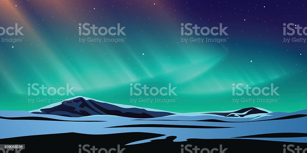 Polar light vector art illustration