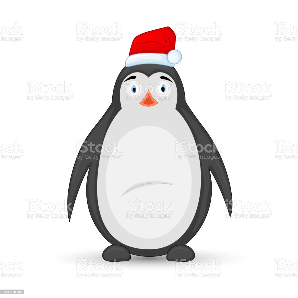Polar Pinguin In Eine Mütze Des Weihnachtsmannes Postkarte Für ...