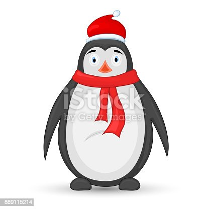 b5d6e7b26b08c polar penguin in a scarf and hat of Santa Claus. postcard for the new year