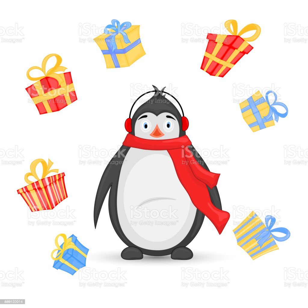 Polar Penguin In A Scarf And Headphones On The Background Of Gifts ...