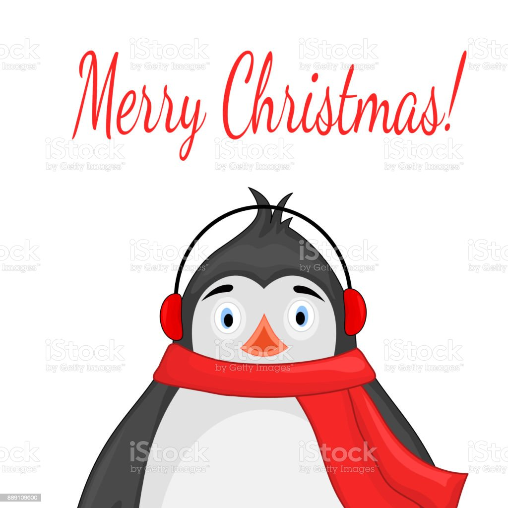 polar penguin in a scarf and headphones postcard for the new year and christmas