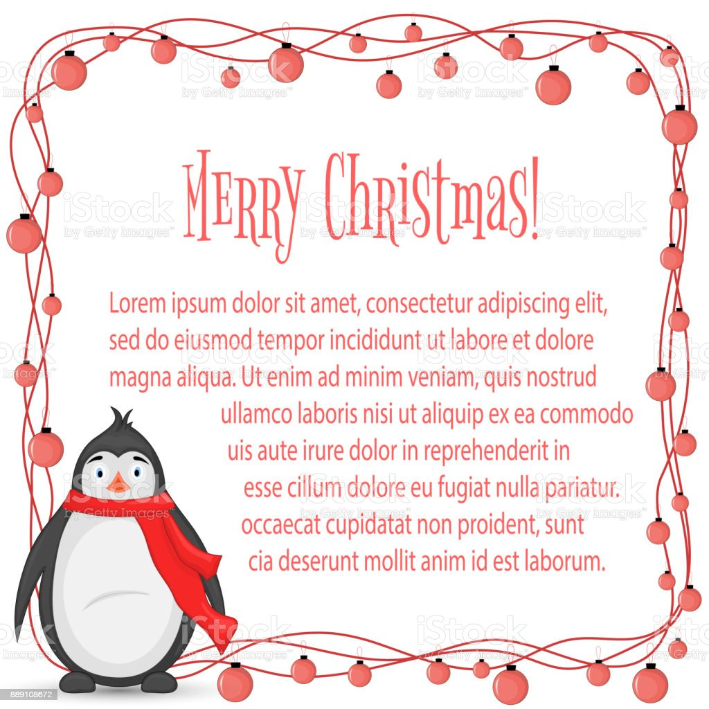 polar penguin in scarf postcard for the new year and christmas isolated objects on
