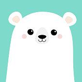 Polar white bear cub face. Merry Christmas. Happy New Year. Cute cartoon baby character. Arctic animal. Hello winter. Flat design. Hello winter. Blue background.