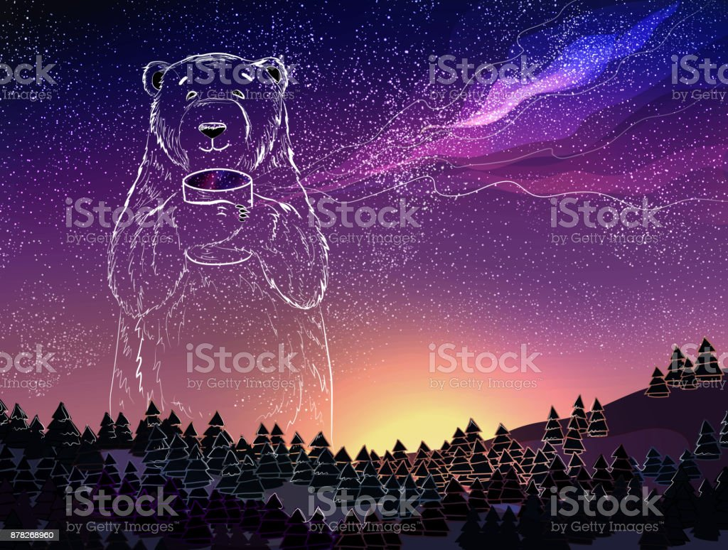 Polar White Bear On Night Sky Background Christmas And New