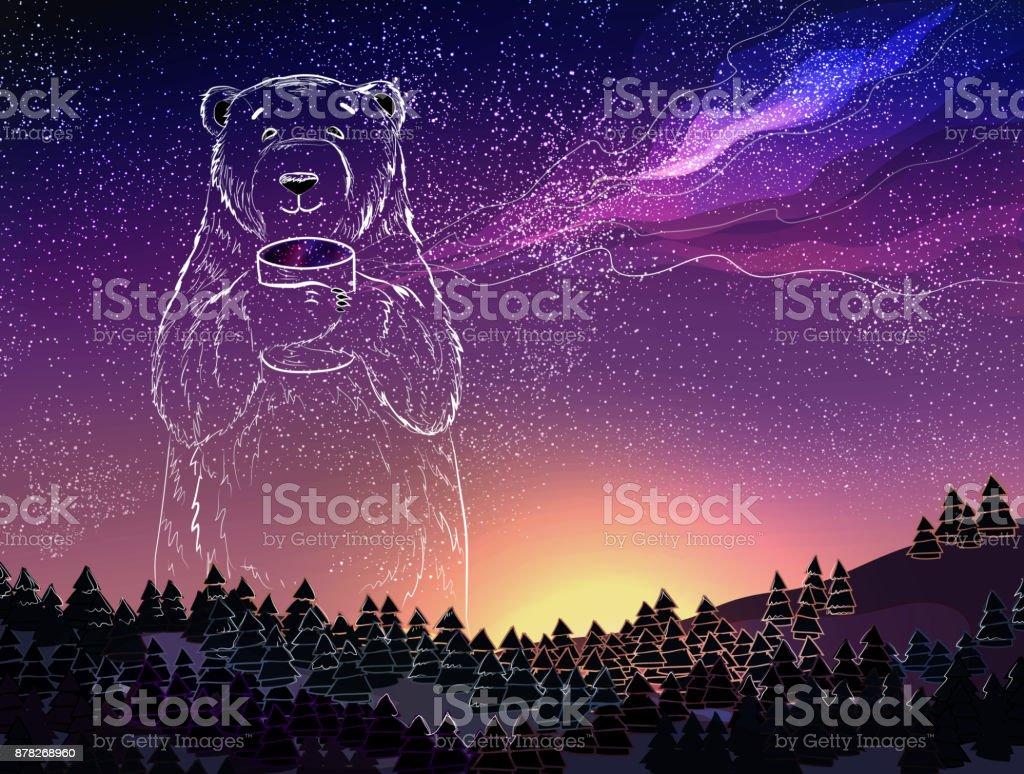 polar white bear on night sky background christmas and new year theme royalty