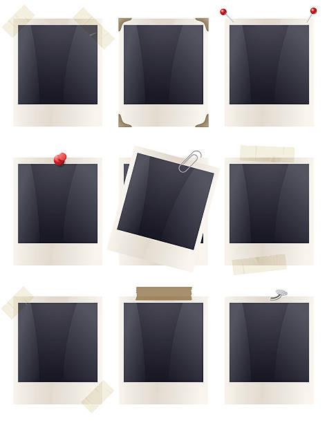 polaroid 프레임-고정 - 종이 클립 stock illustrations