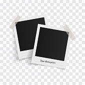 polaroid photo frames on sticky tape on a transparent background