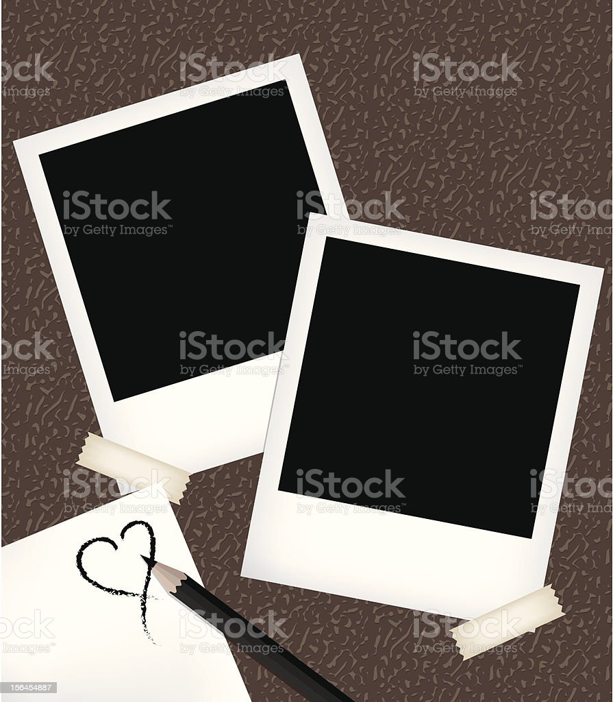 Polaroid photo templates with notepad vector art illustration