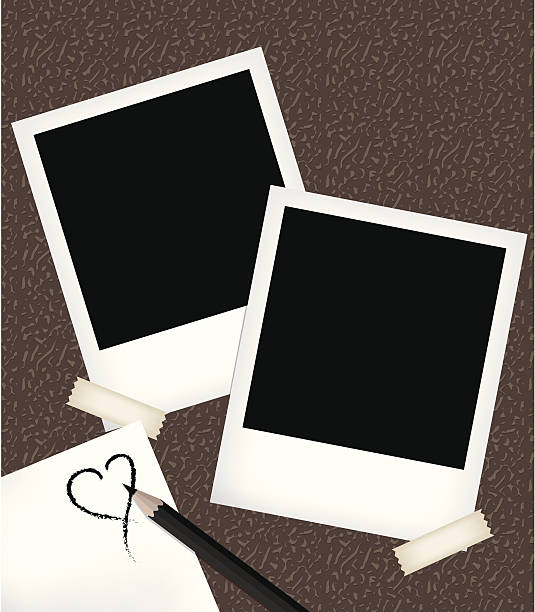 Polaroid photo templates with notepad vector art illustration