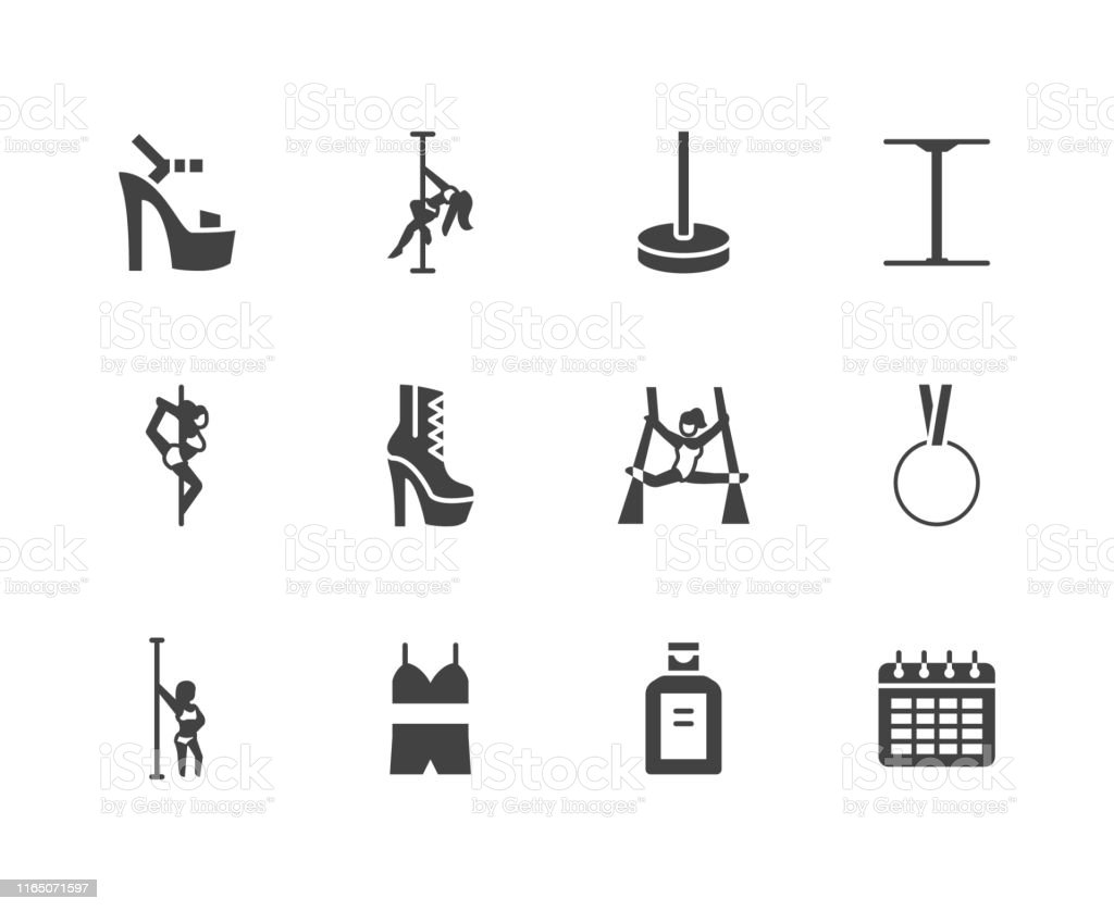 Download Pole Dance Flat Glyph Icons Set Sexy Girl Dancing Stripper ...