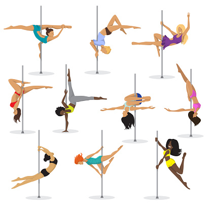 Pole dance girl vector set woman poledance dancer fitness sexy pose stripper posing and dancing illustration isolated on white background