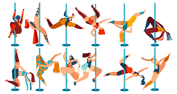 Pole dance people, body positive women cartoon characters isolated on white, vector illustration