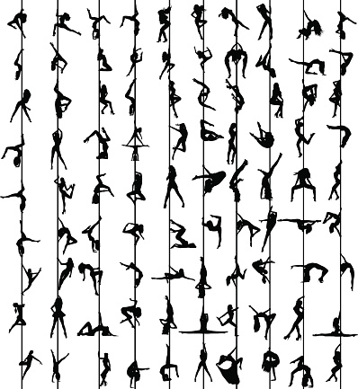 Download Pole Dance Women Silhouettes Stock Illustration - Download ...