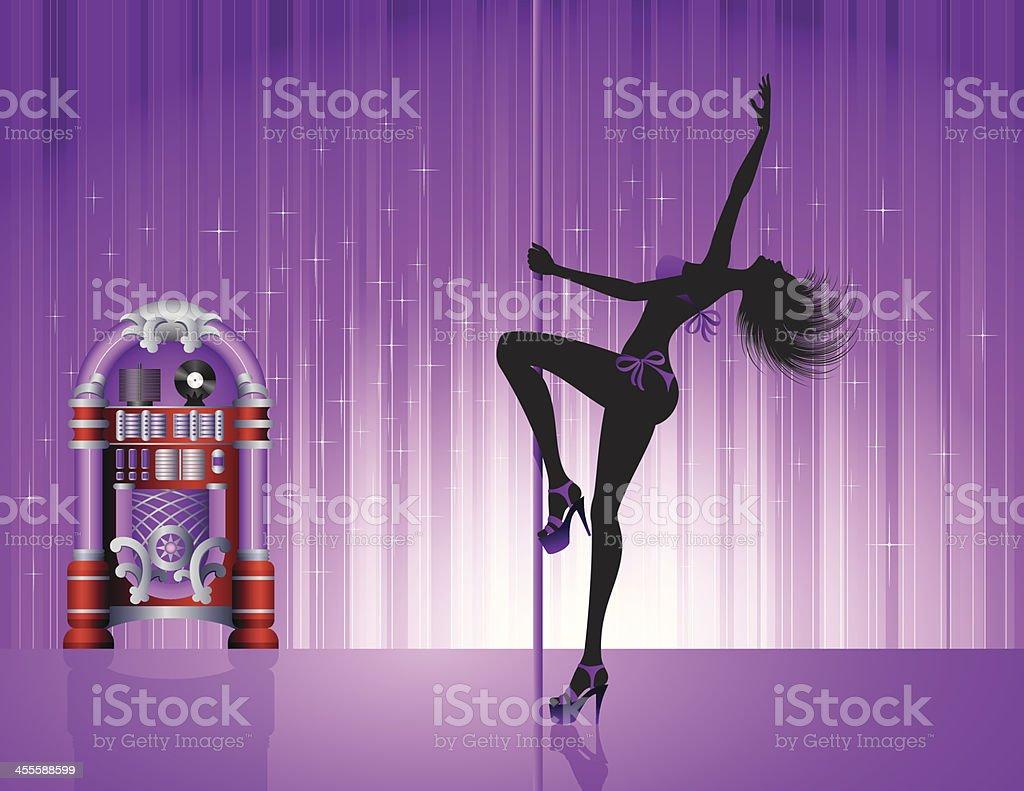 Pole Dancer vector art illustration