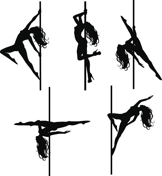 Pole dancers silhouettes vector art illustration. Stripper Clip Art  Vector Images   Illustrations   iStock