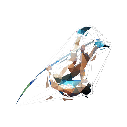 Pole vault, abstract low polygonal isolated vector illustration, geometric jumping athlete