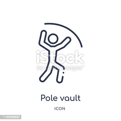 pole vault icon from olympic games outline collection. Thin line pole vault icon isolated on white background.