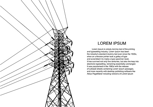 Vector Illustration. High Voltage  Towers Electric Power Transmission. Lines Supplies Electricity to the Text.  Pylon, pole network, icon. Symbols, presentation, and advertisement.  planning Suit.