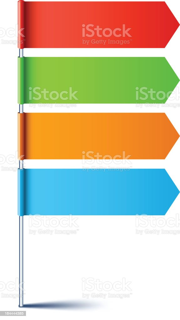 A pole with 4 blank colorful arrows pointing to the right royalty-free stock vector art