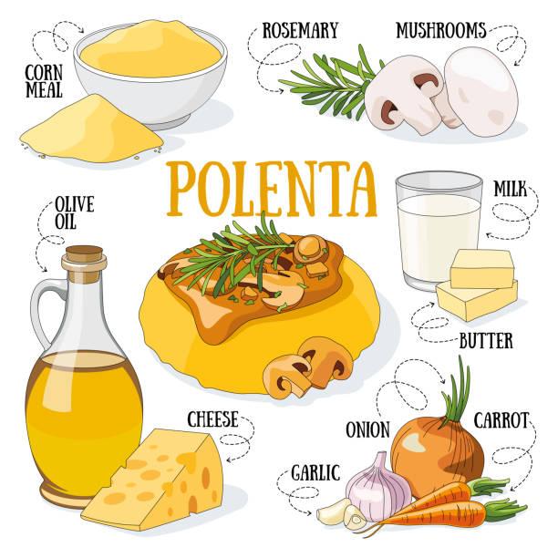 폴렌타  - 폴렌타 죽 stock illustrations