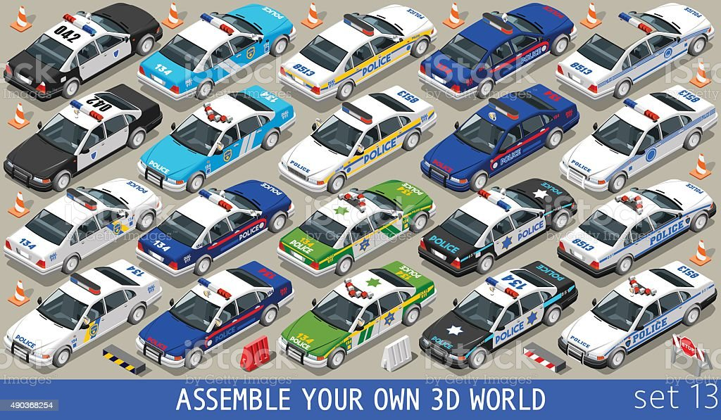 Police 01 Flat Vehicle Isometric vector art illustration