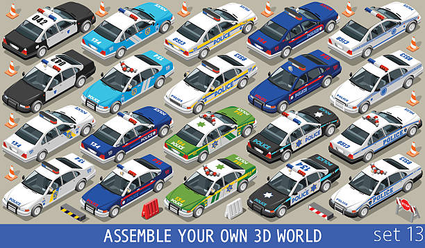 Police 01 Flat Vehicle Isometric Police Department Cars MEGACOLLECTION. Flat 3d Isometric City Service Transport Icon Set. Assemble Your Own 3D World Web Infographic Collection. police car stock illustrations