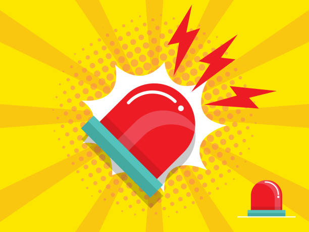 police and emergency siren alert flashing light vector art illustration