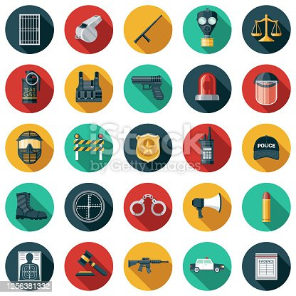 A set of police and law enforcement icons. File is built in the CMYK color space for optimal printing. Color swatches are global so it's easy to edit and change the colors.