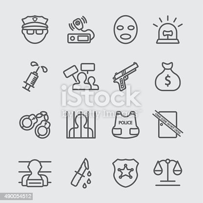 Police And Law Enforcement Line Icon Stock Vector Art